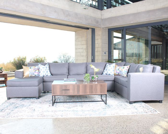 Hudson Corner Couch with Chaise-Charcoal Grey Fabric