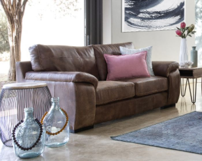 Carson 2 Seater Couch In Full Leather-Zambezi Spice