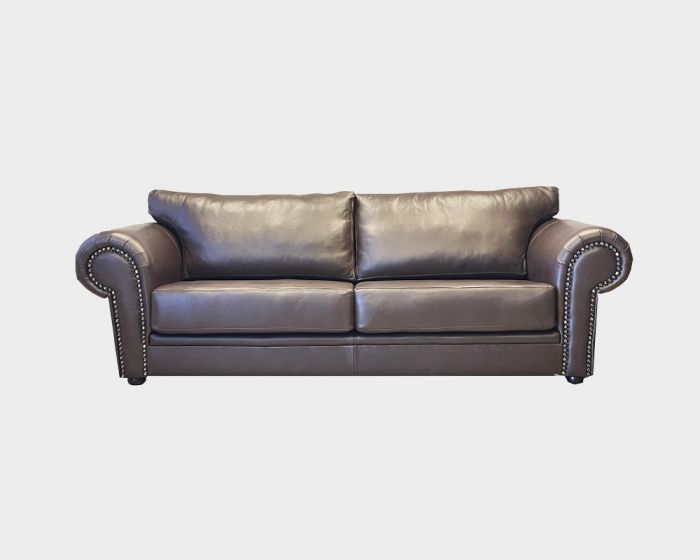 Hunt 3 Seater Leather Couch -Chocolate