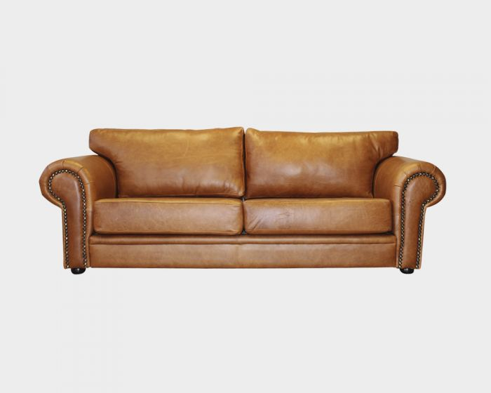 Hunt 3 Seater Leather Couch-Tan Leather