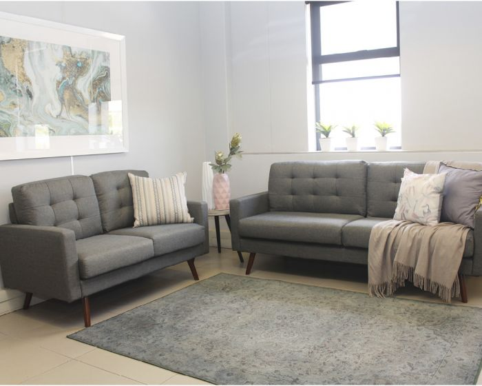 Hurley 2 + 3 Seater Lounge Suite-Grey Fabric