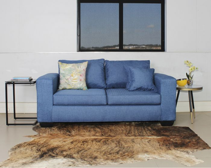 Kennedy 2 Seater Couch-Blue Fabric