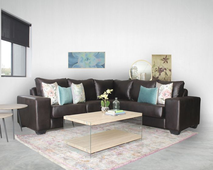 Trent Corner Couch -Brown Fabric