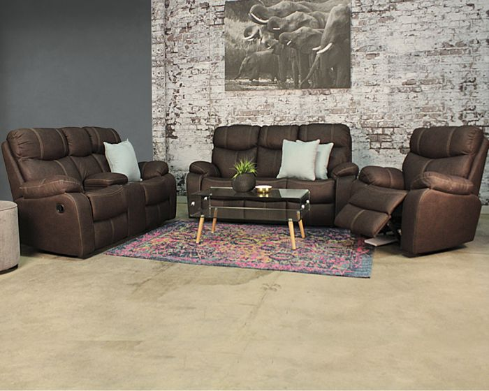 Nirvana 3 Piece 3 Action Recliner Set With Console-Addo Brown