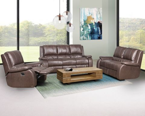 Reno 3 Piece 3 Action Recliner Lounge Suite-Brown Fabric